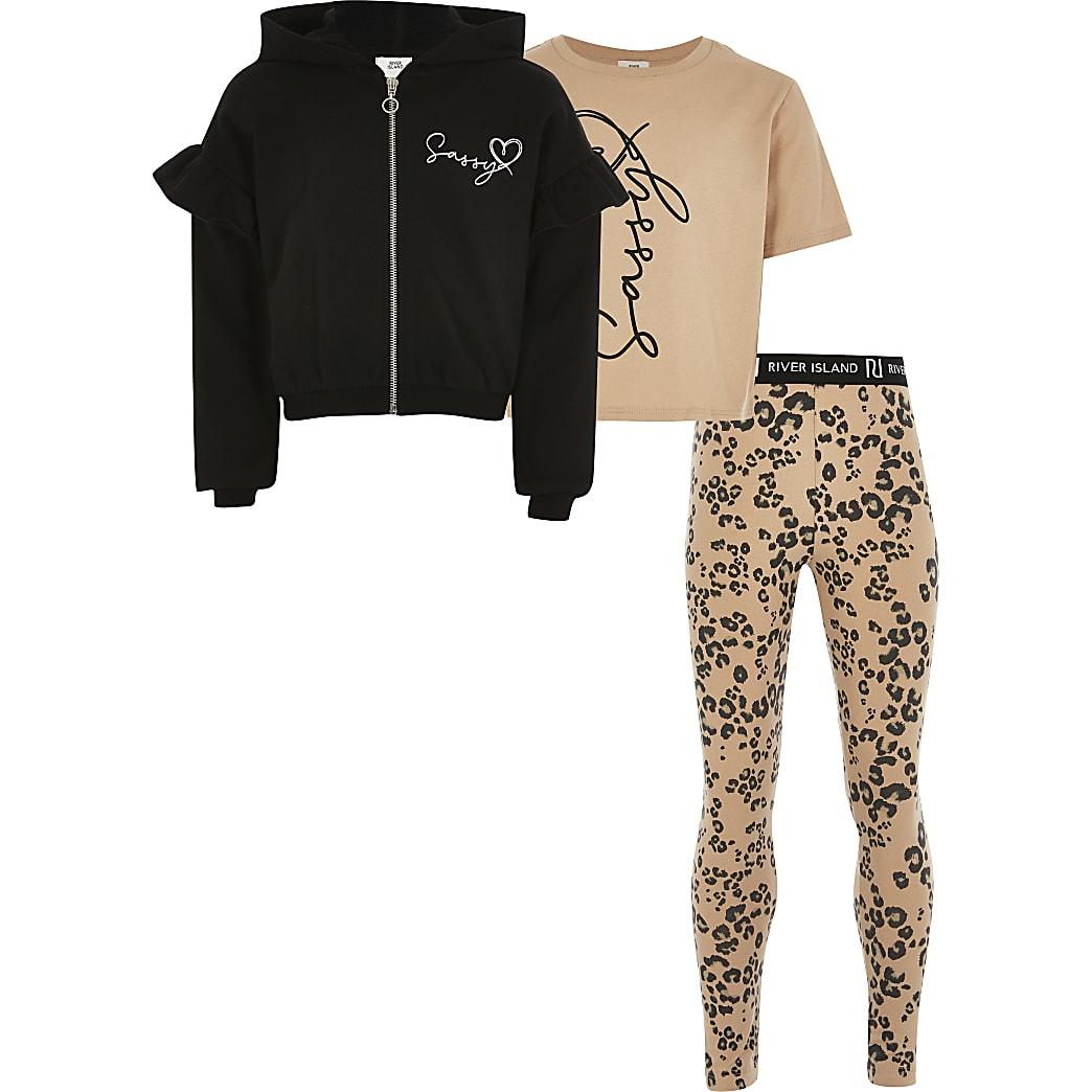 Girls beige 'Sassy' three piece outfit