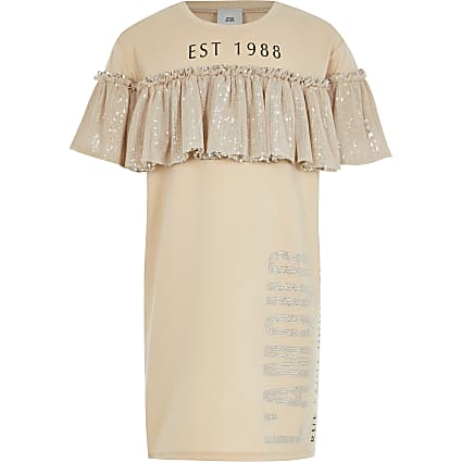 Girls beige sequin frill t-shirt dress