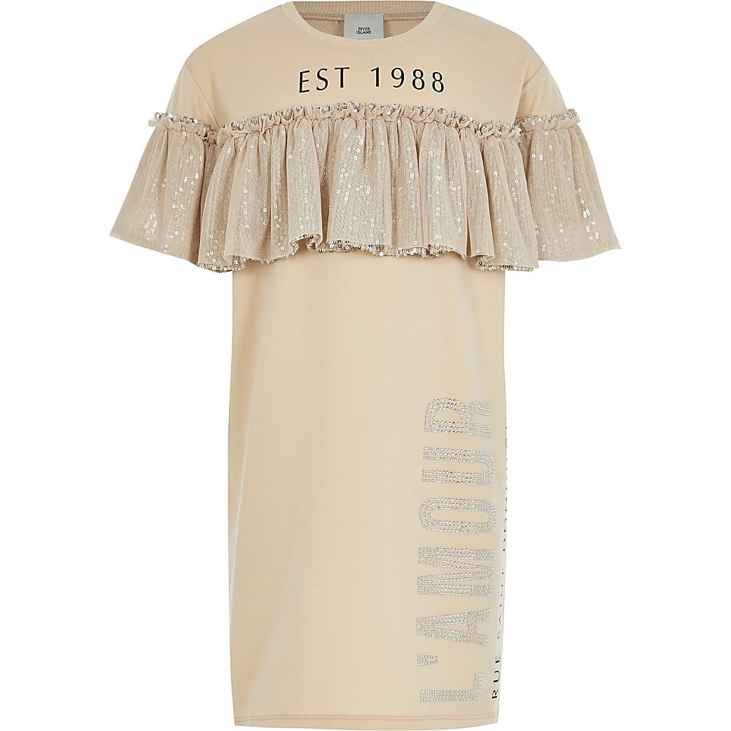 Girls beige sequin frill t-shirt dress