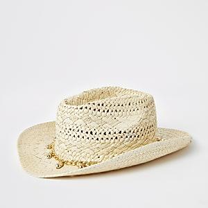 Beige stetson hoed met schelpen ketting voor meisjes