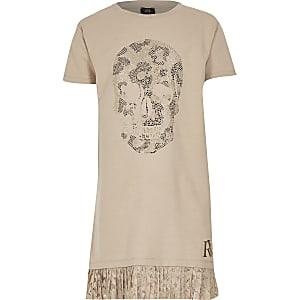 Robe t-shirt ornée de tête de mort beige pour fille