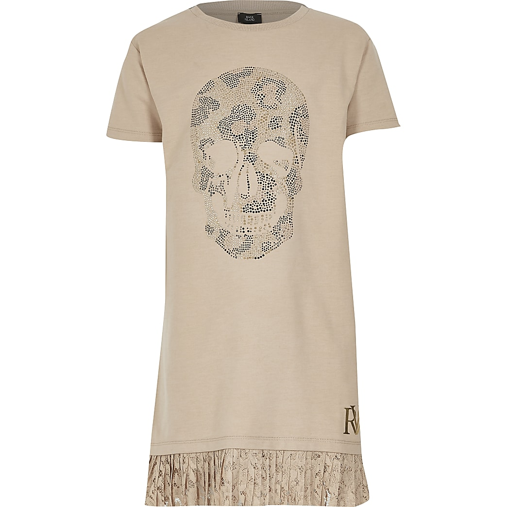 Girls beige skull embellished T-shirt dress