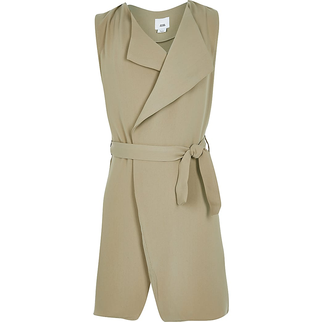 Girls beige sleeveless duster jacket
