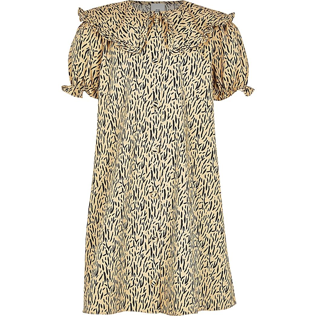 Girls beige smock dress