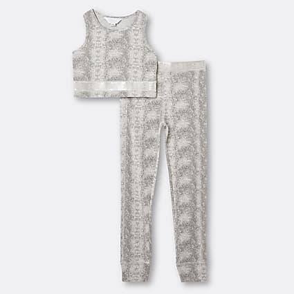 Girls beige snake print crop top and leggings
