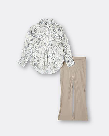 Girls beige snake print shirt and trouser set