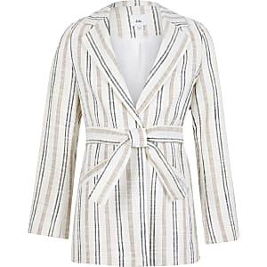 Girls beige strip print blazer