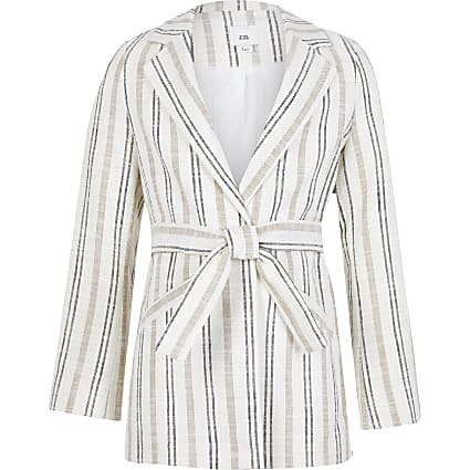 Girls beige strip print blazer