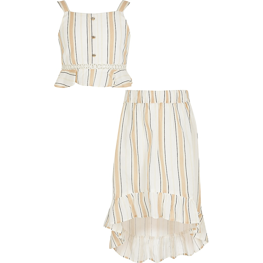 Girls beige stripe frill crop top outfit
