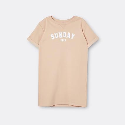 Girls beige 'Sunday Vibes' t-shirt dress