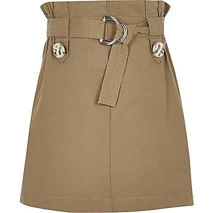 Girls Beige Tab Utility Skirt