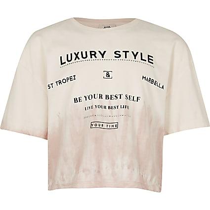 Girls beige tie dye 'Luxury Style' t-shirt