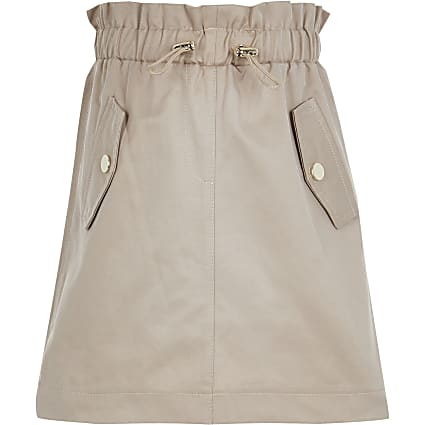 Girls beige utility drawcord skirt