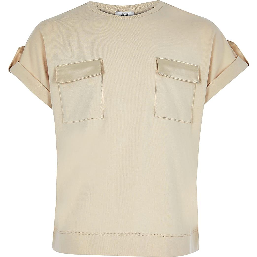 Girls beige utility T-shirt