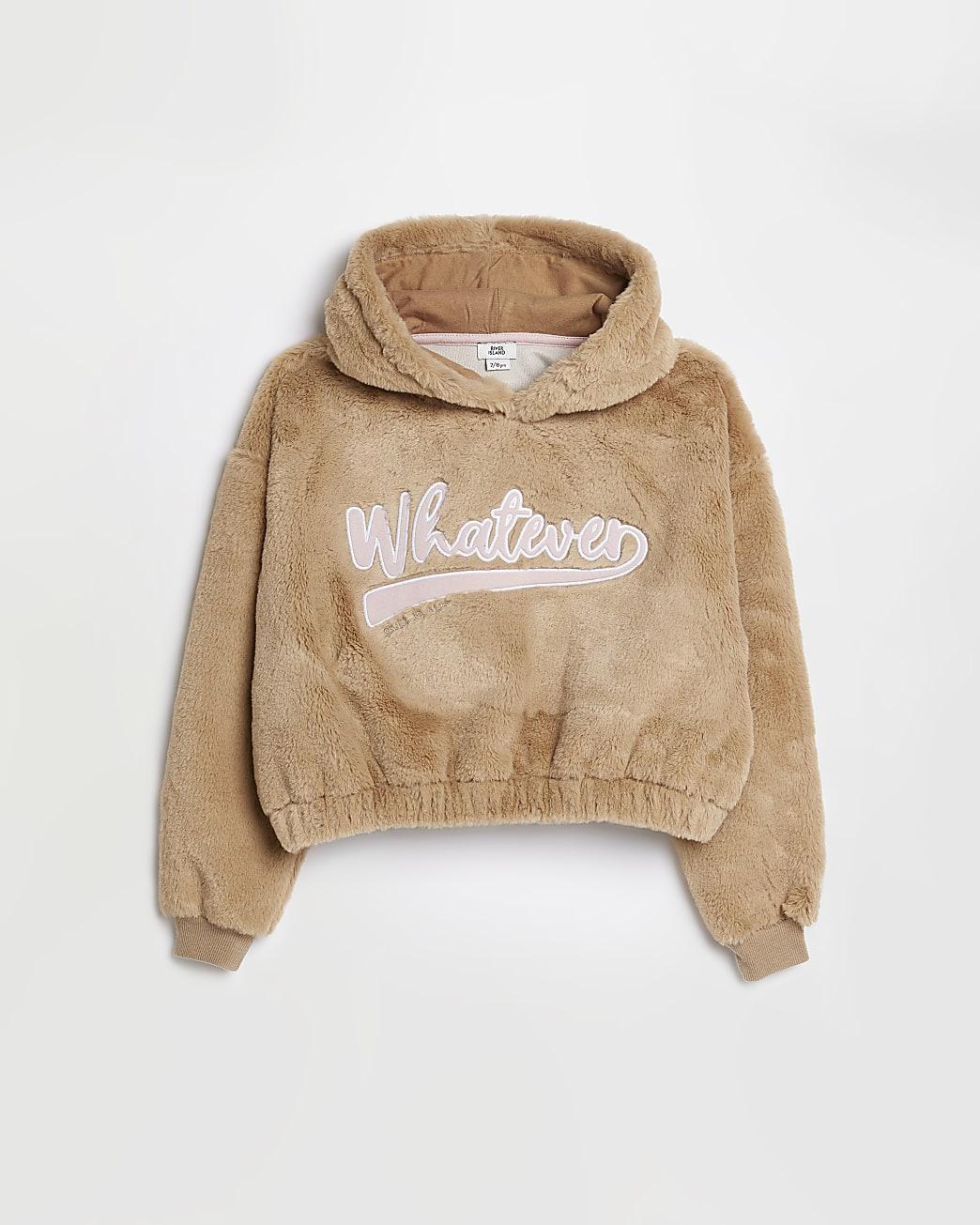 Girls beige 'Whatever' faux fur hoodie