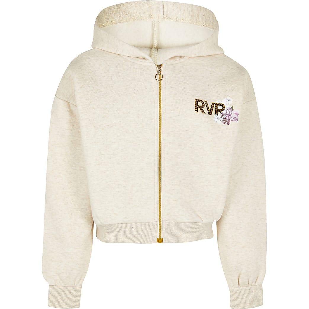Girls beige zip through sweatshirt