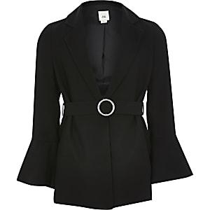 Schwarzer Blazer mit Gürtel für Mädchen
