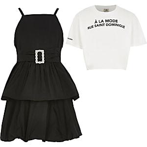 2-in-1-Ballkleid mit Taillengürtel in Schwarz für Mädchen