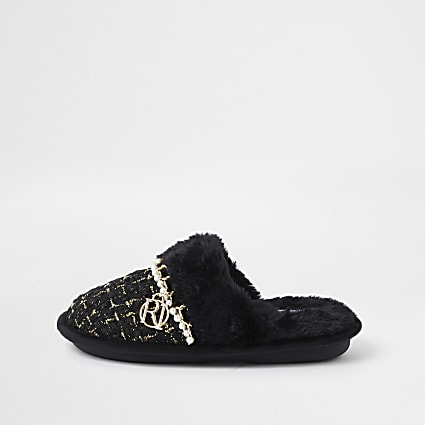 Girls black  boucle slippers