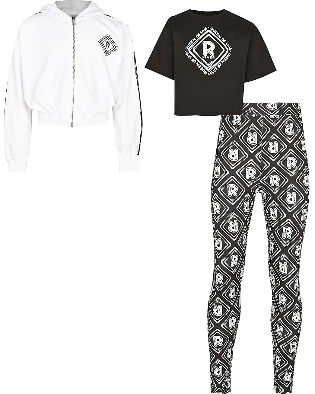 Girls black  'Queen of sass' 3 piece outfit