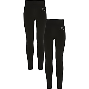 Girls black  RI fold over leggings 2 pack
