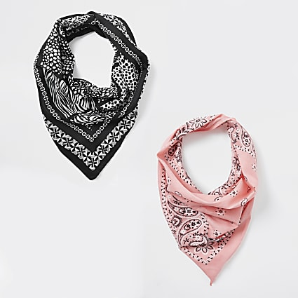 Girls black 2pk bandana face coverings