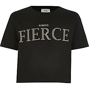 Zwart T-shirt met studs en 'Always fierce'-tekst voor meisjes