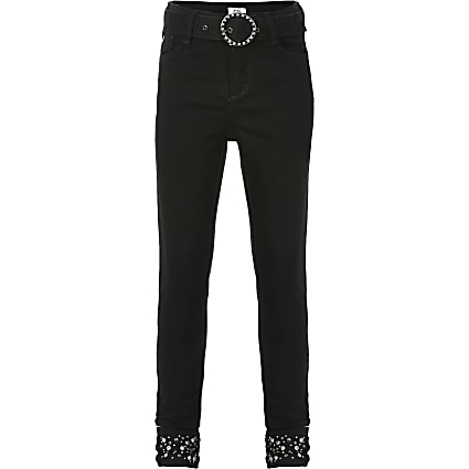Girls black Amelie diamante skinny fit jeans