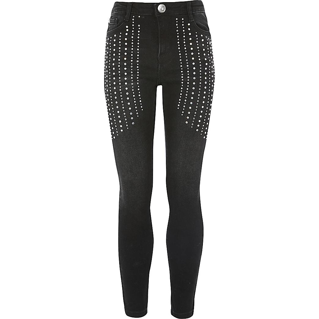 Girls black Amelie diamante skinny jeans