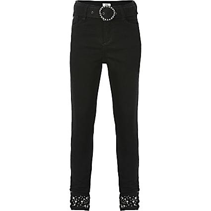 Girls black Amelie embellished mid rise jeans