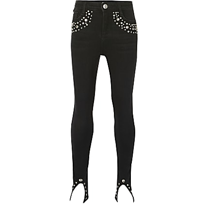 Girls black Amelie studded skinny fit jeans