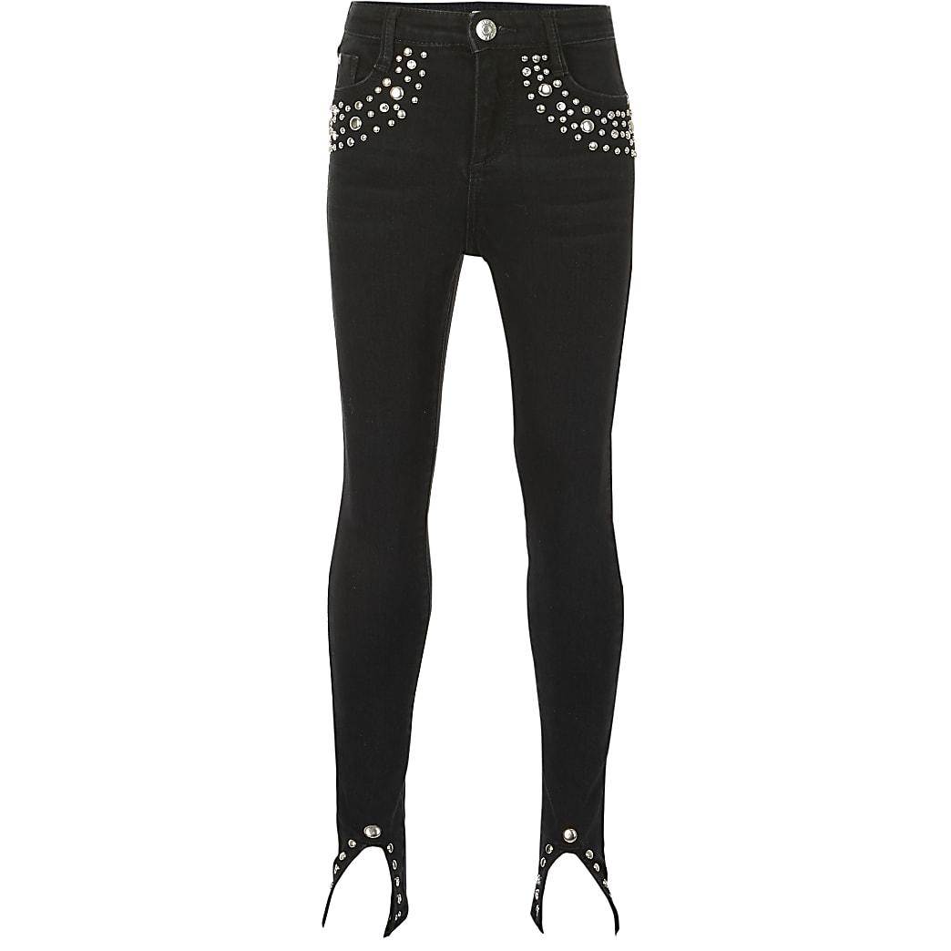 Girls black Amelie studded skinny fit jeans