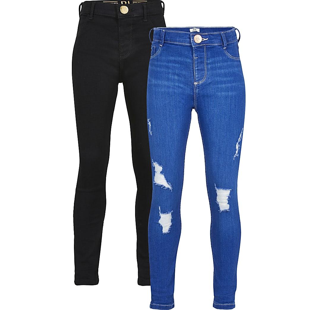Girls black and blue jeggings 2 pack