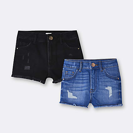 Girls black and blue Mom shorts 2 pack
