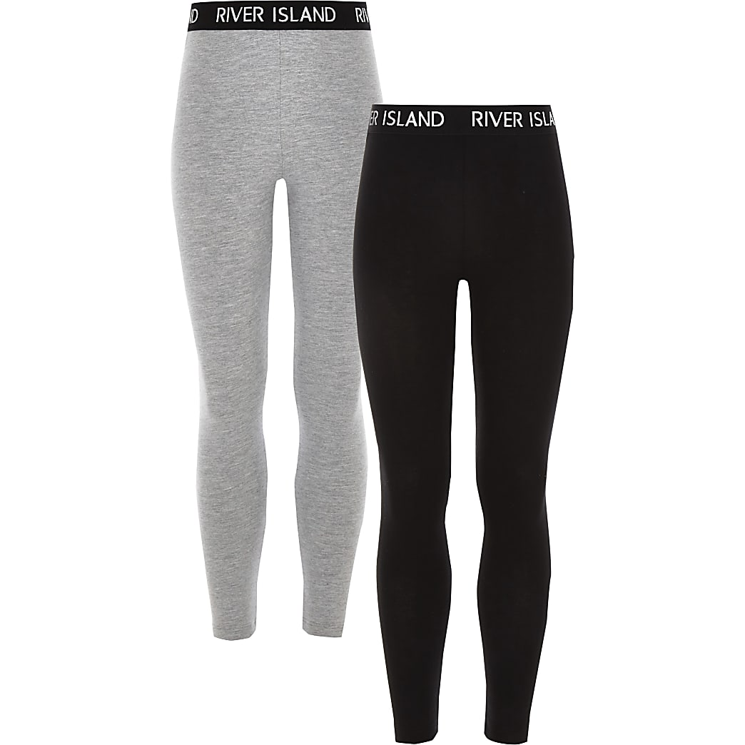 Girls black and grey leggings 2 pack