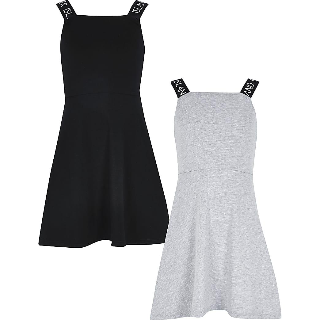 Girls black and grey skater dress 2 pack
