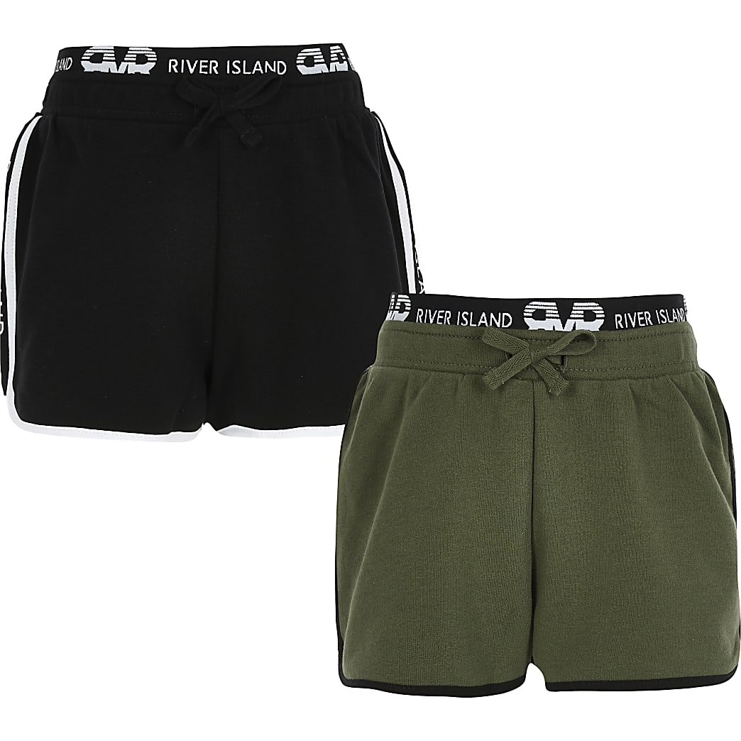 Girls black and khaki RI runner shorts 2 pack