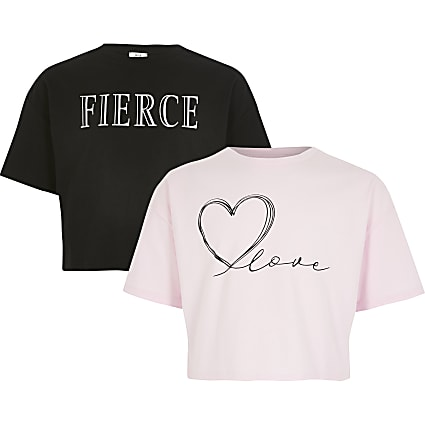 Girls black and pink printed crop top 2 pack