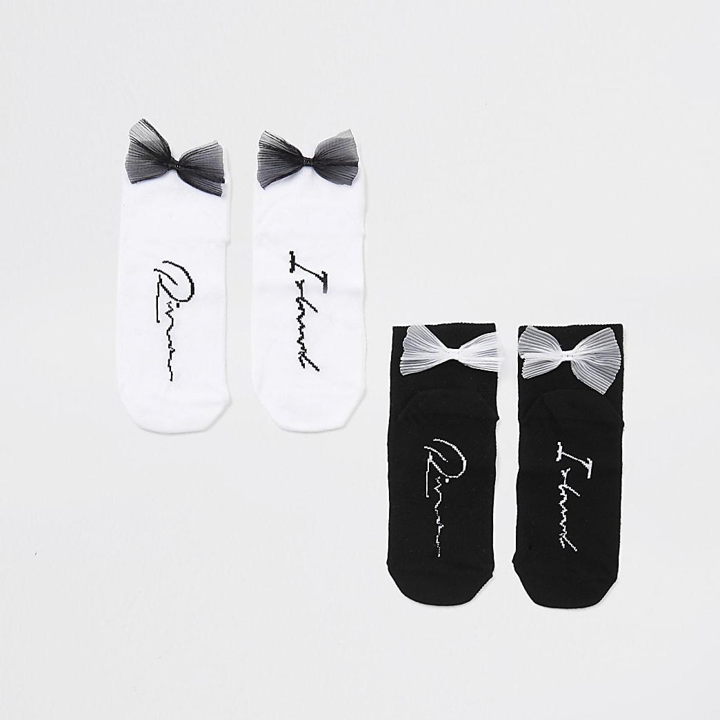Girls black and white bow back socks 2 pack