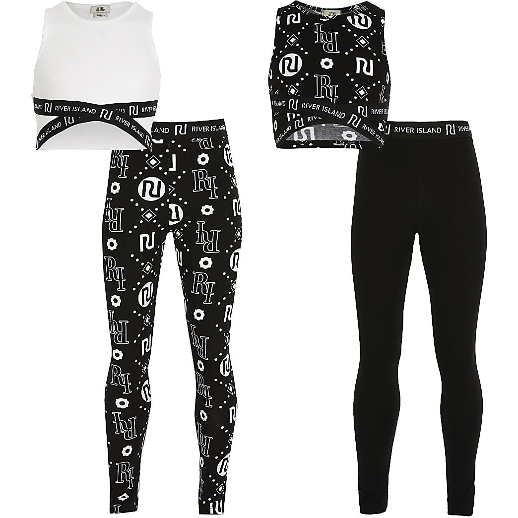 Girls black and white crop outfit 2 pack