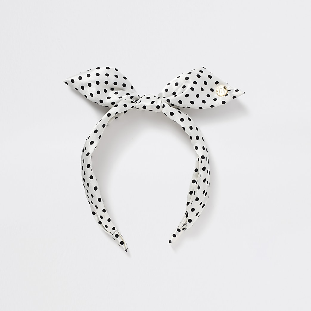 Girls black and white polka print headband