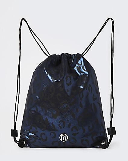 Girls black animal print drawstring bag