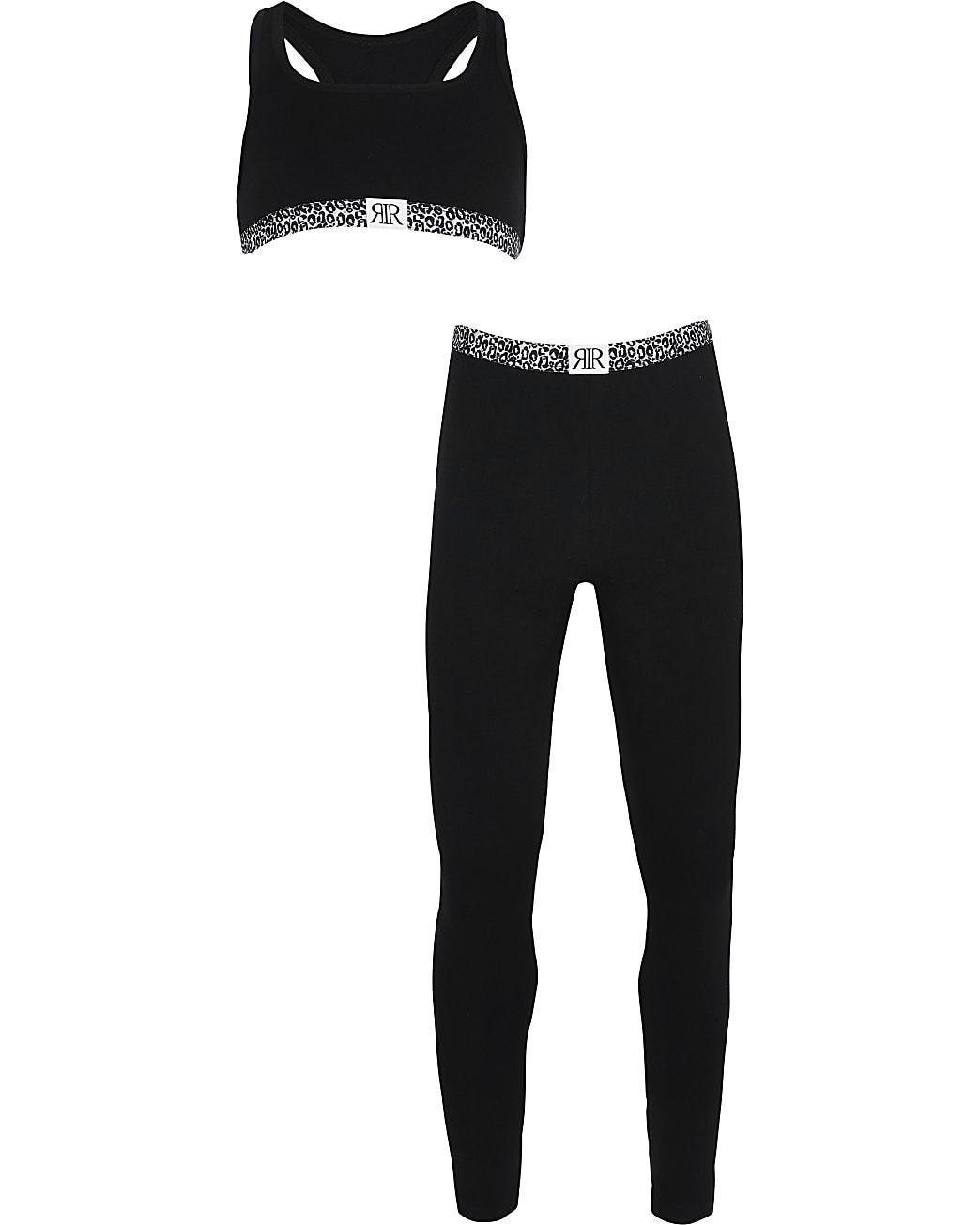 Girls black animal print leggings outfit
