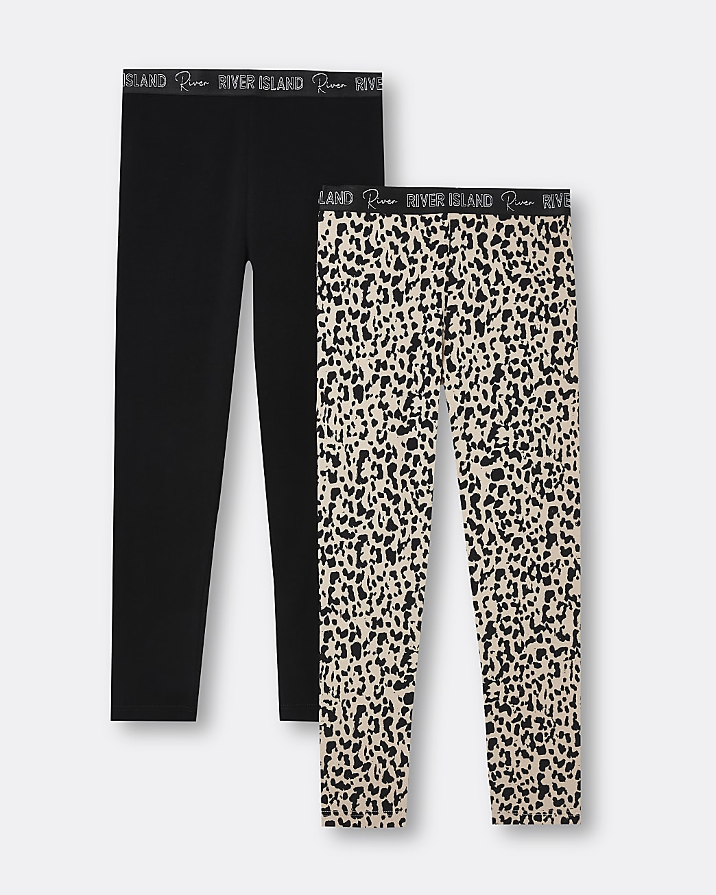 Girls black animal print RI leggings 2 pack