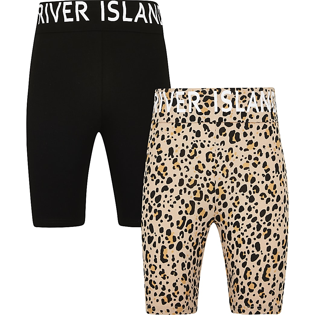 Girls black animal print shorts 2 pack
