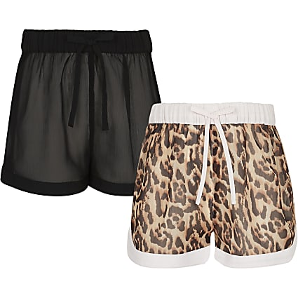 Girls black animal print shorts 2 pack