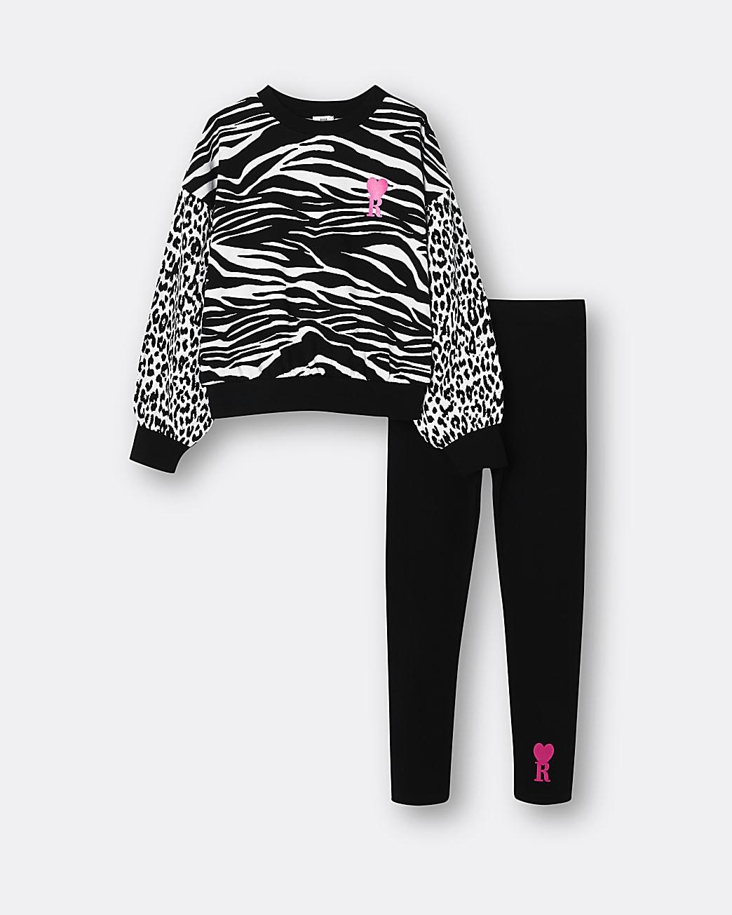 Girls black animal print sweatshirt outfit