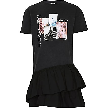 Girls black asymmetrical t-shirt dress
