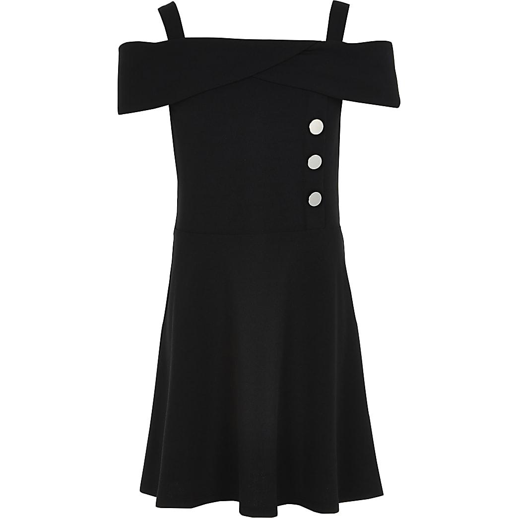 Girls black bardot button skater dress