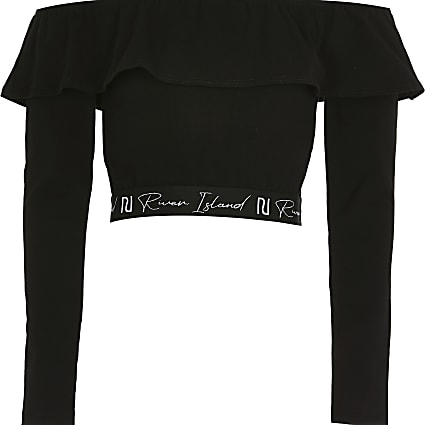 Girls black bardot crop top